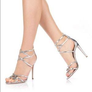 Aquazzura Duchess Sandals Mirrored Silver 40